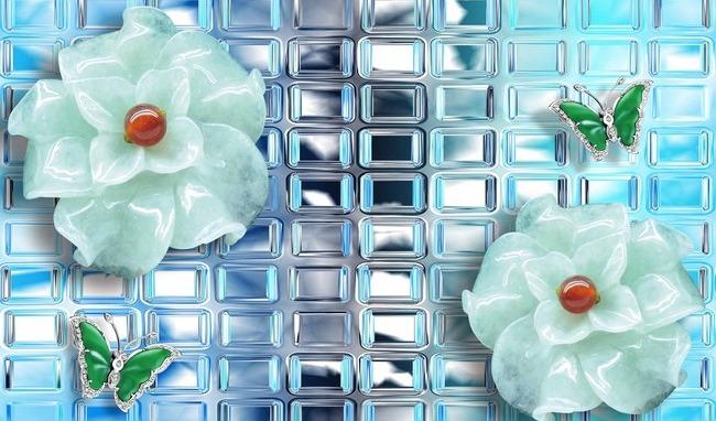 """3D Фотообои  """"Стеклянный витраж с цветами и бабочками"""""""