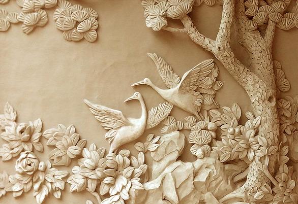 3D фотообои «Журавли резьба по дереву» вид 1