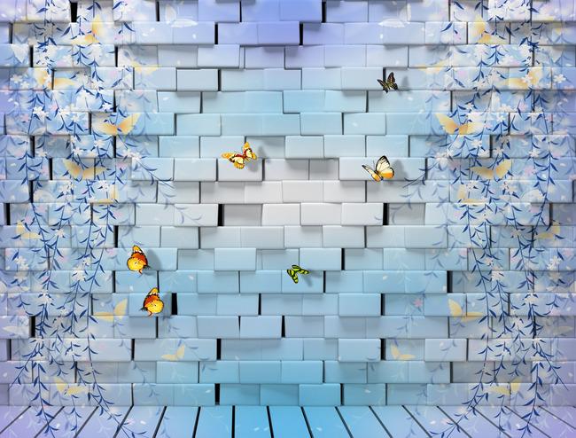"3D Фотообои  ""Кирпичная стена с бабочками"""