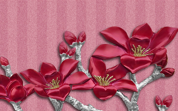 3D Фотообои  Цветок сакуры на бархатистой ткани<br>kit: None; gender: None;