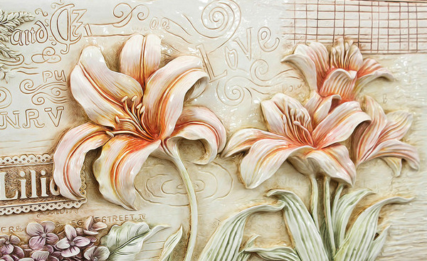 "3D фотообои ""Лилии под каменную фреску"" вид 1"