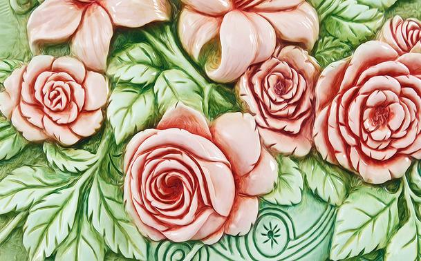 """3D Фотообои  """"Объемные розы"""""""