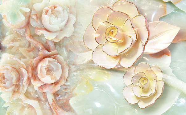 """Фотообои """"3D Фотообои  """"Цветы под керамику"""" """""""