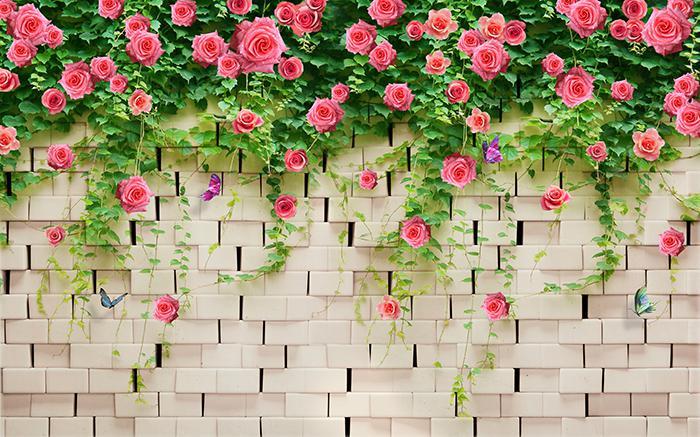 """3D Фотообои  """"Кирпичная стена с цветами"""""""
