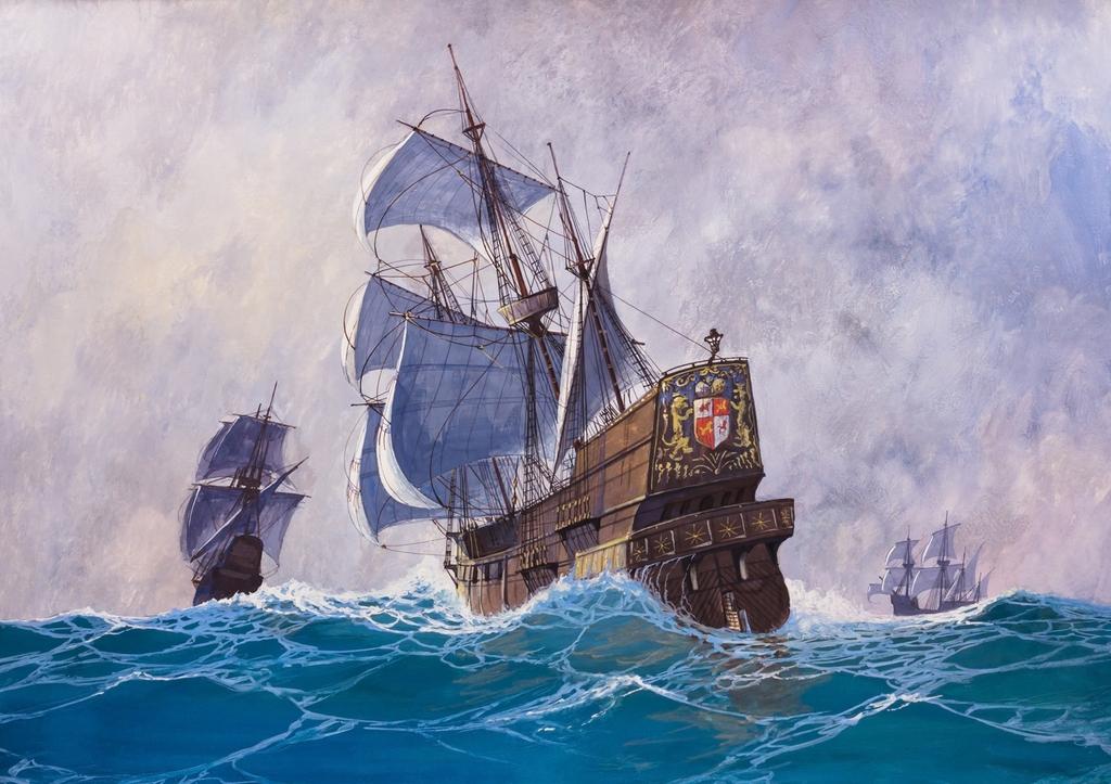 """3D Фотообои  """"Живопись: Корабли во время шторма"""""""