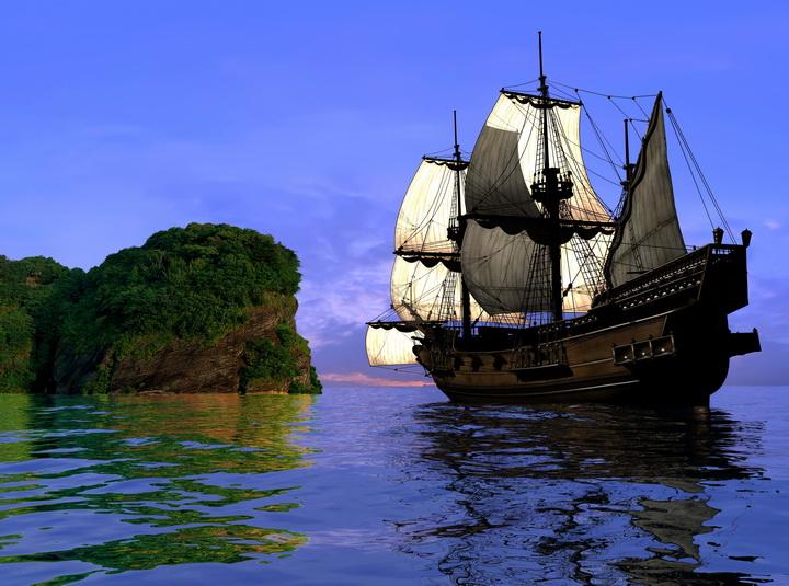 """3D Фотообои  """"Парусник в море"""""""