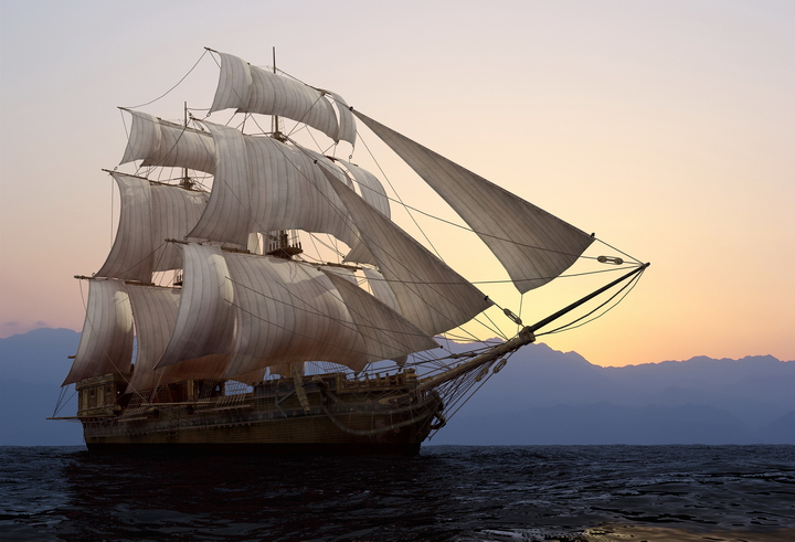"""Фотообои """"3D Фотообои  """"Корабль в море"""" """""""