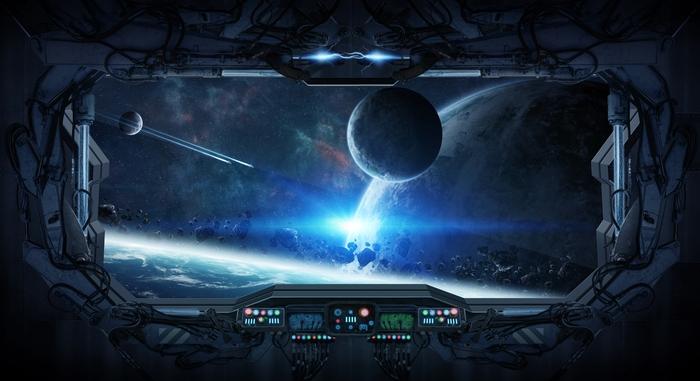 3D Фотообои «Вид из иллюминатора звездного корабля»<br>kit: None; gender: None;