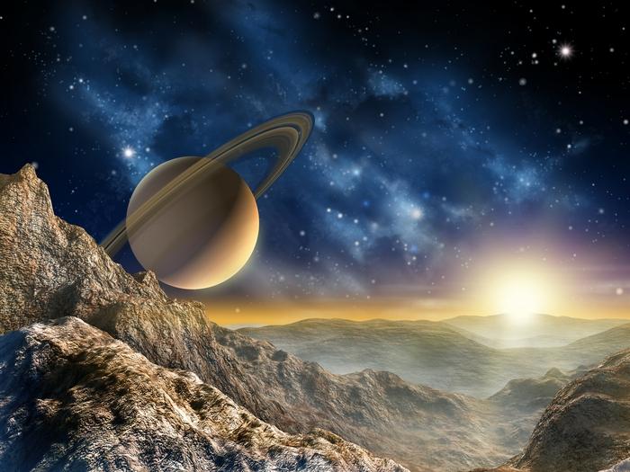 3D фотообои 3D Фотообои «Огромный астероид с видом на сатурн» вид 1