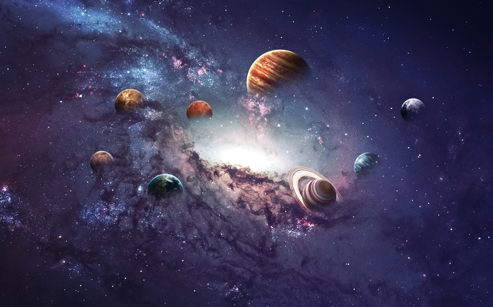 3D фотообои «Парад планет» вид 1