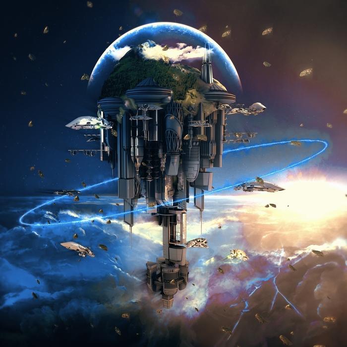 3D Фотообои «Футуристический космический замок»<br>kit: None; gender: None;