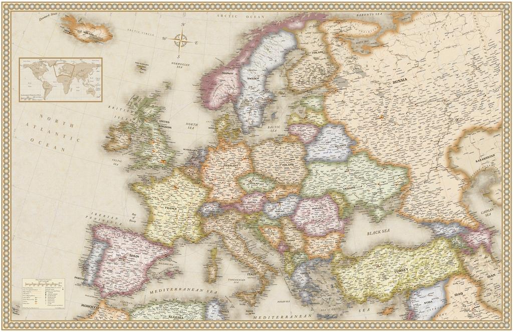 """3D Фотообои  """"Карта Европы"""""""