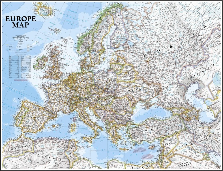 3D Фотообои  Карта Европы<br>kit: None; gender: None;