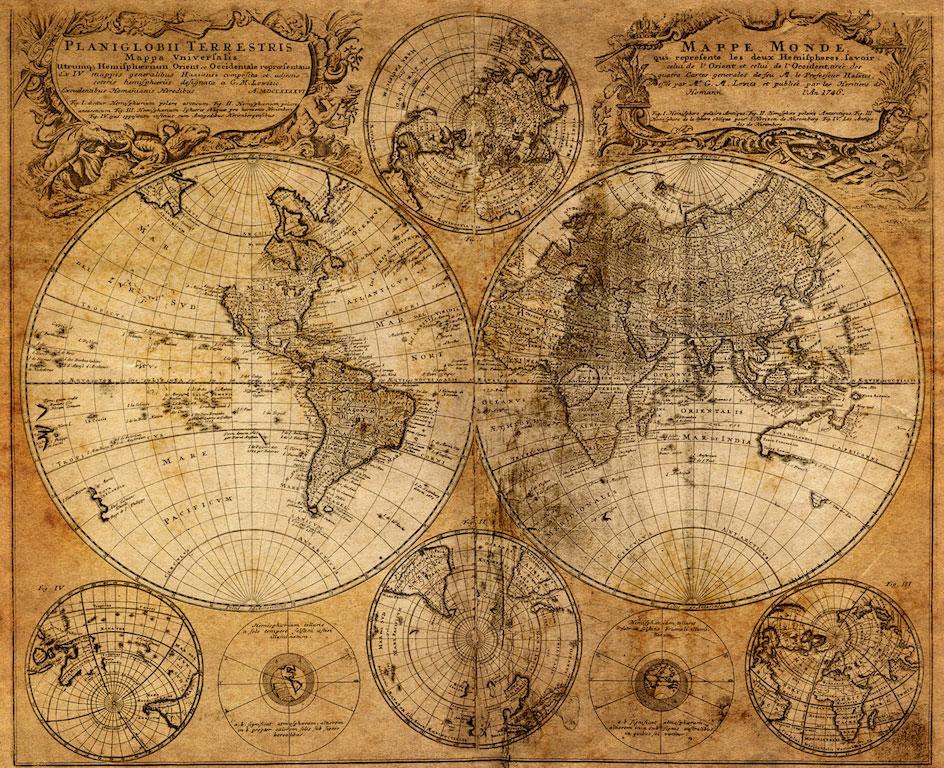 """3D Фотообои  """"Старая карта мира"""""""