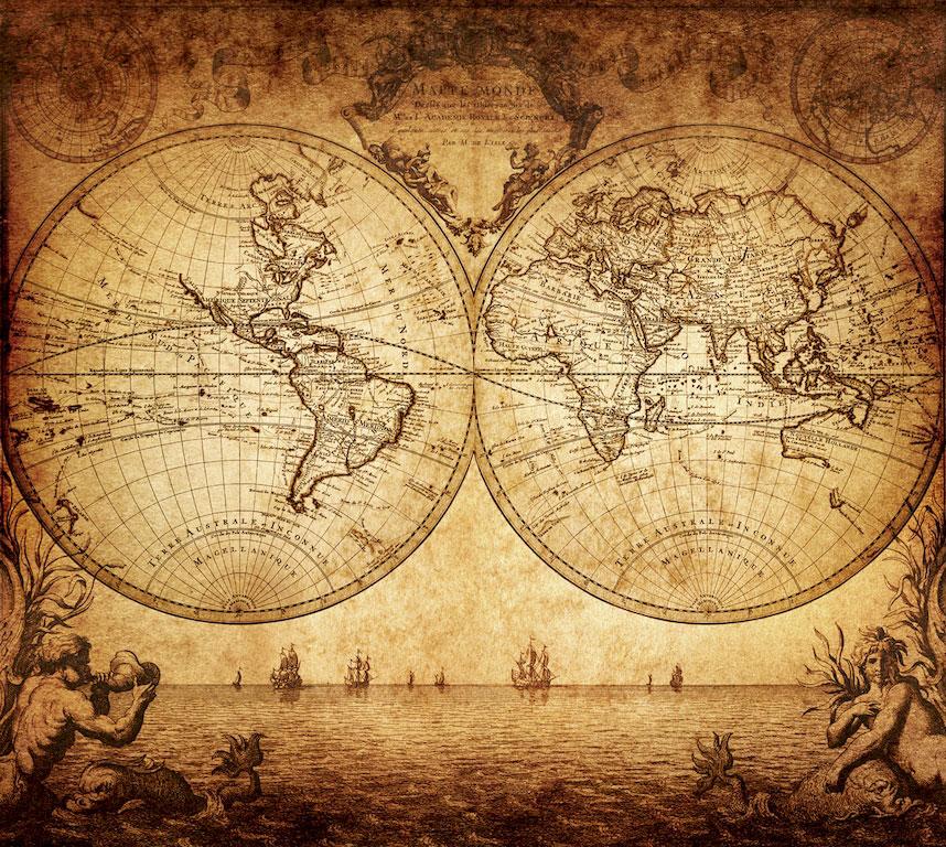 3D Фотообои Старинная карта мира<br>kit: None; gender: None;