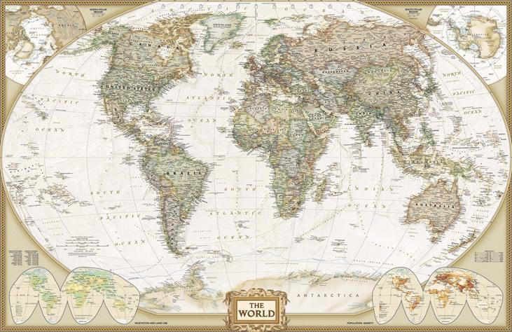 """3D Фотообои  """"Красивая карта мира"""""""