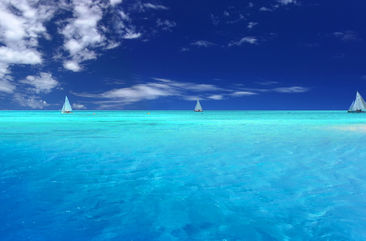 "3D Фотообои  ""Парусники в Карибском море"""
