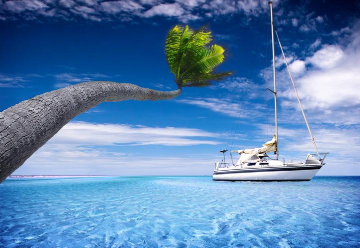 "3D Фотообои  ""Яхта в море"""