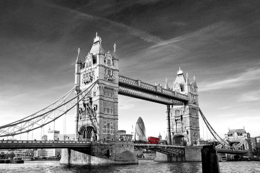 """3D Фотообои  """"Лондон черно-белые"""""""