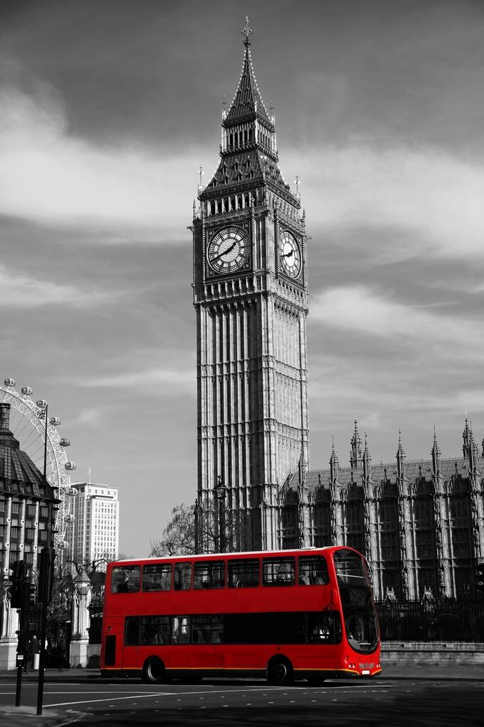 """3D Фотообои  """"Красный автобус - Лондон"""""""
