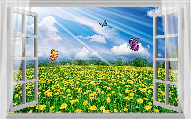 "3D Фотообои  ""С видом из окна на поле одуванчиков"""