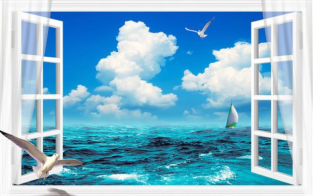 3D Фотообои  Распахнутое в море окно<br>kit: None; gender: None;