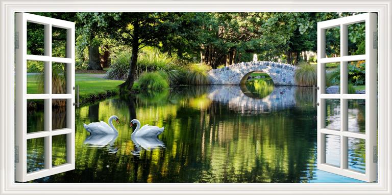 """3D Фотообои  """"Вид из окна на пруд с лебедями"""""""