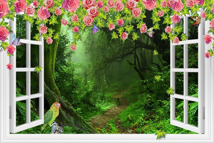 """Фотообои """"3D Фотообои  """"С видом из окна на тропический лес"""" """""""