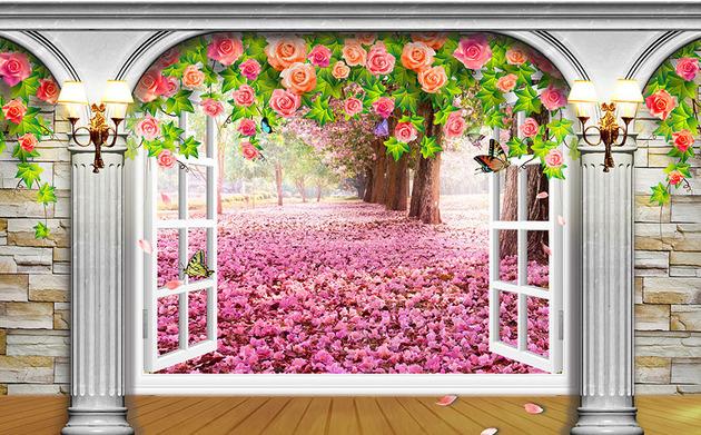 3D Фотообои  Арка-окно с видом на деревья сакурыПанно будто распахивает Вам окно в удивительный волшебный сад. Сотни цветов заполняют все видимое пространство, унося тревоги и заботы куда-то вдаль. Пестрое обрамление из роз создает лирическое легкое настроение, а белые колонны и стены из камня придают композиции упорядоченность и изящество.<br>kit: None; gender: None;