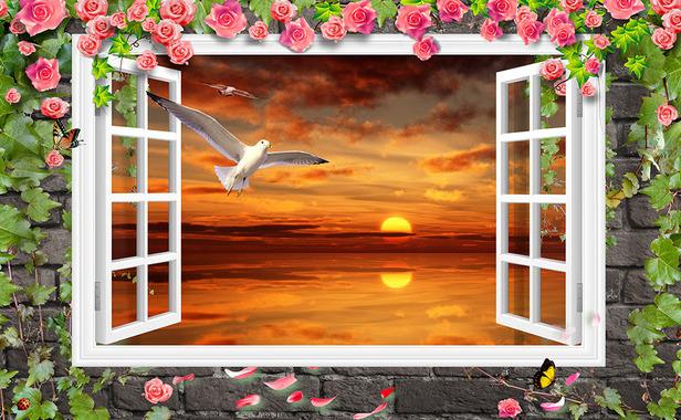 """3D Фотообои  """"Вид из окна чайки на закате"""""""