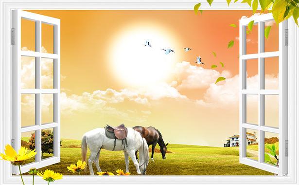 """3D Фотообои  """"Вид из окна на лошадей"""""""