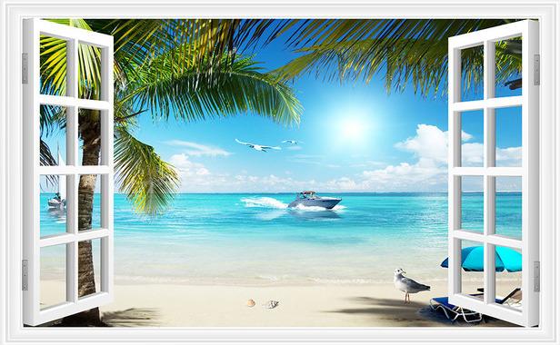 3D Фотообои  Вид из окна на пляж<br>kit: None; gender: None;