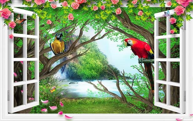 3D Фотообои  С видом из окна на тропическую экзотику<br>kit: None; gender: None;
