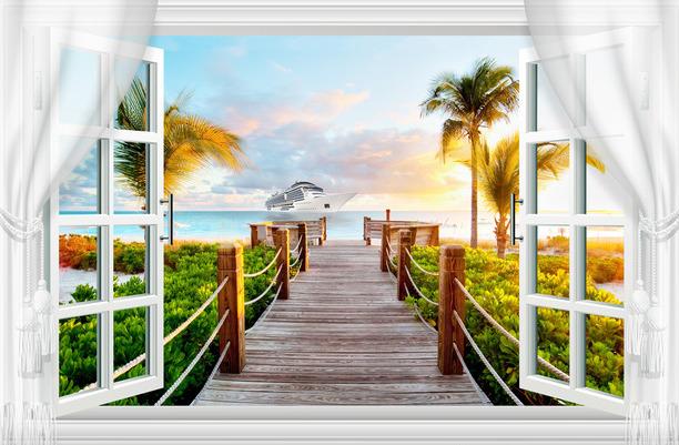 """3D Фотообои  """"Вид из окна на выход к морю"""""""