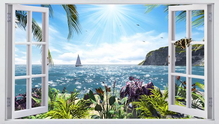 3D Фотообои  Вид из окна на море<br>kit: None; gender: None;