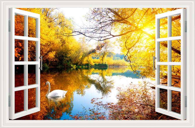 """3D Фотообои  """"Вид из окна на озеро с лебедями"""""""