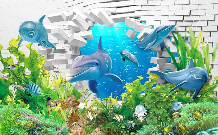 Детские 3D Фотообои «Подводный мир. Дельфины»<br>kit: None; gender: None;