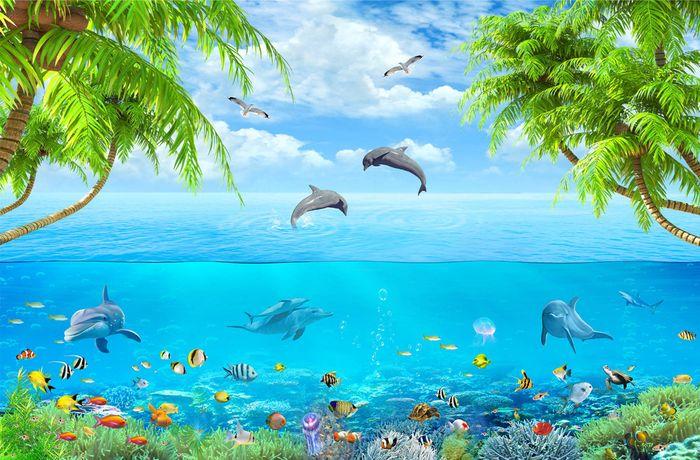 3D фотообои 3D Фотообои «Дельфины над водой» вид 1