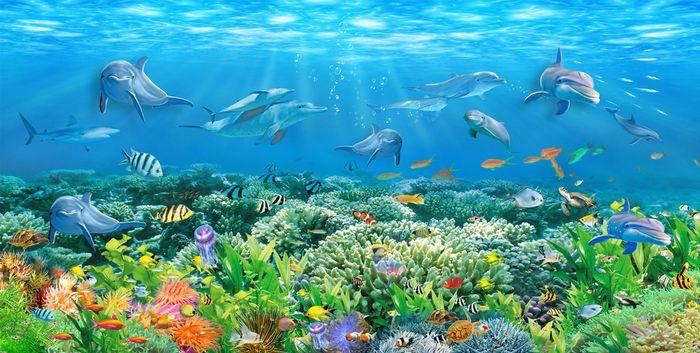 3D Фотообои «Яркие водоросли»
