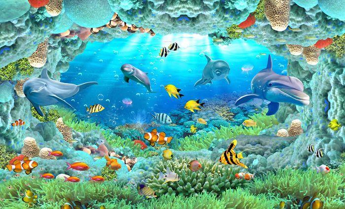 Детские 3D Фотообои «Разноцветные морские обитатели»<br>kit: None; gender: None;