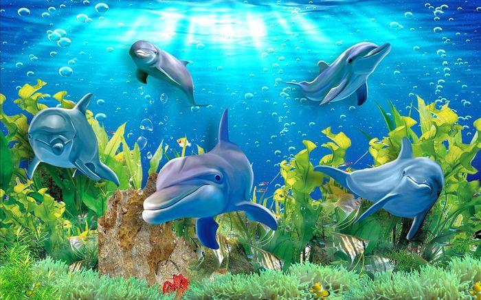 3D Фотообои «Дельфины»