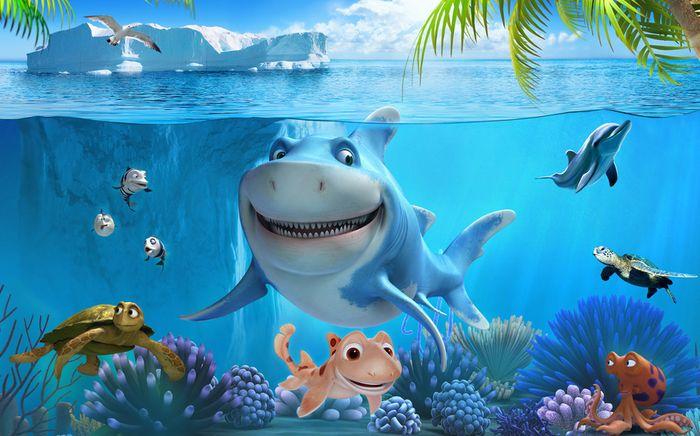 3D Фотообои «Улыбающиеся рыбки»