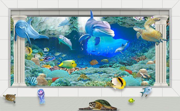 Детские 3D Фотообои «Подводная архитектура»<br>kit: None; gender: None;