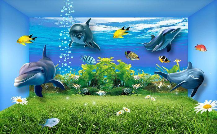 Детские 3D Фотообои «Полянка под водой»<br>kit: None; gender: None;