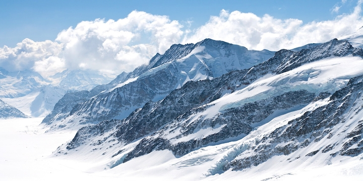 """3D Фотообои  """"Пейзаж в заснеженных горах"""""""
