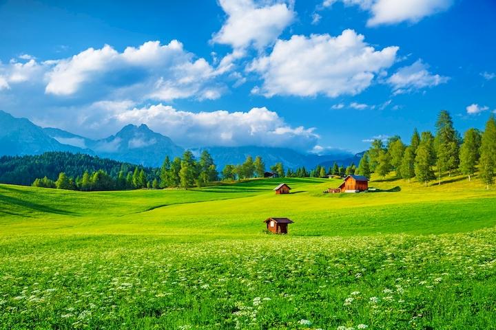 """3D Фотообои  """"Деревня в Альпийской долине"""""""