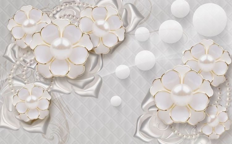 3D Фотообои «Объемные цветы с жемчугом»<br>kit: None; gender: None;