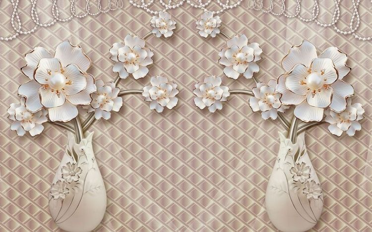 3D Фотообои «Вазы с ювелирными цветами»<br>kit: None; gender: None;