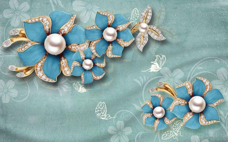 3D Фотообои «Синие цветы с жемчугом»<br>kit: None; gender: None;