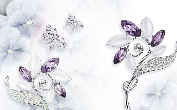 3D Фотообои «Ювелирные цветы и бабочки»<br>kit: None; gender: None;